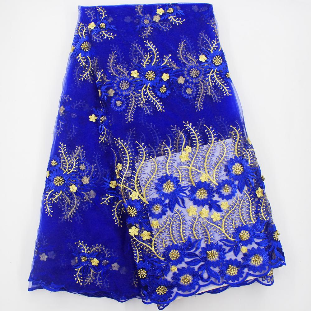 Royal blue and gold lace fabric high quality lace for wedding african french lace with beads latest nigerian lace fabrics