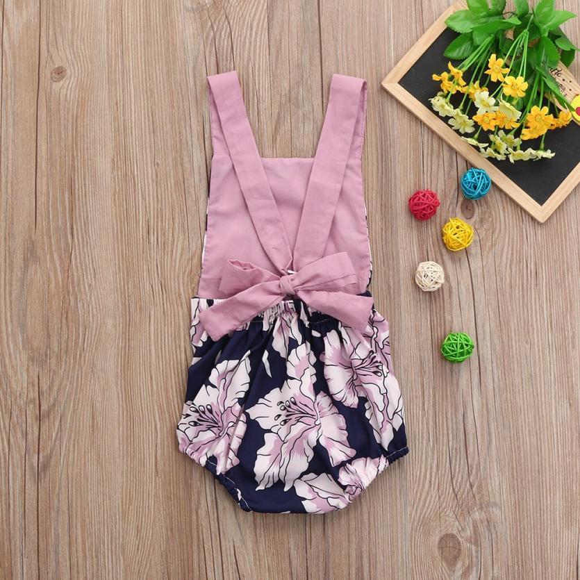 Toddler Baby Girls Flowers Floral Print Vest Sleeveless Backless Romper Jumpsuit 0403
