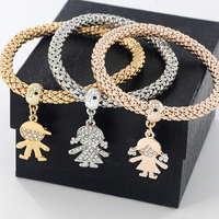 3pcs/set Little Kids Rhinestone Bracelets Gold Silver color Round Chain Bracelets pulsera Fashion Charm Jewelry for Women