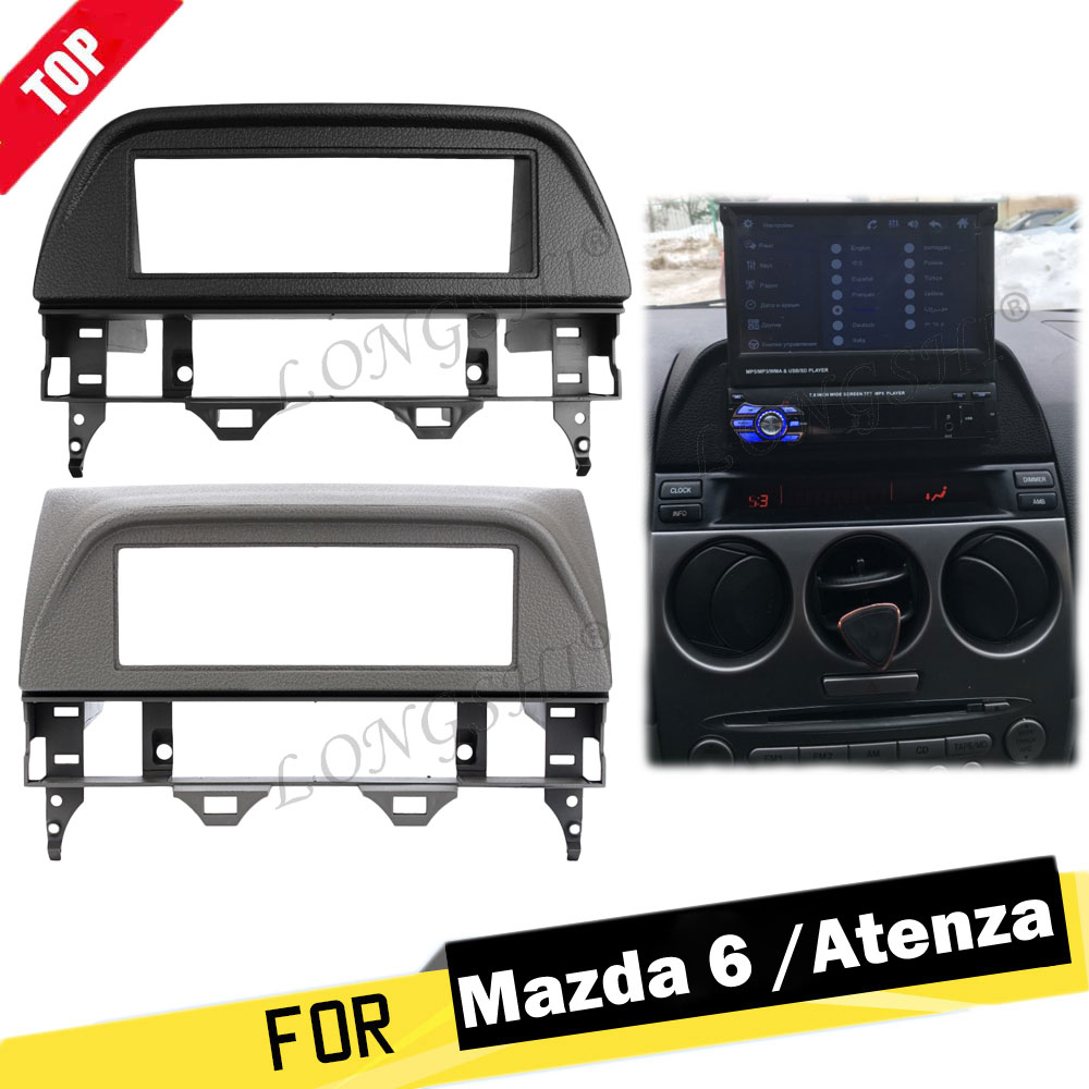 LONGSHI One <font><b>Din</b></font> Car Fascia Frame Audio Stereo Dashboard Refitting Kit For <font><b>Mazda</b></font> <font><b>6</b></font> Atenza 2002 2003 2004 2005 2006 2007 image