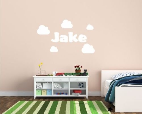 2016 Hot Custom made Personalized Cute Clouds Wall Sticker Any Name Art Decal Customized Gift-You choose name and color