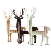 KiWarm DIY מודל פאזל עץ 3D Elk צביים בעלי החיים מודרני משרד ביתי קישוט דקור מדף שולחן עץ מודל צבי