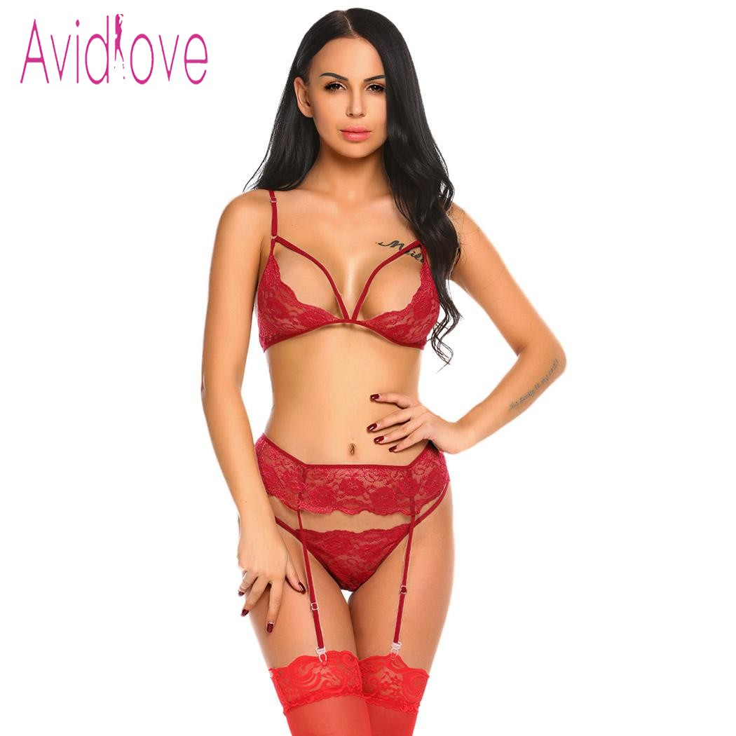 Avidlove Open Cup Bra Plus Size Erotic Lingerie Sets Lace Nightgowns Sexy Bra Panty Womans Lingerie And Exotic Sets Sex Products purple lace details long sleeves low waisted lingerie sets