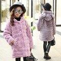 С капюшоном куртки для девочек пушистый пальто детская одежда сгустите теплый девушки верхняя одежда 2017 бренд детской одежды 3 4 5 7 9 12