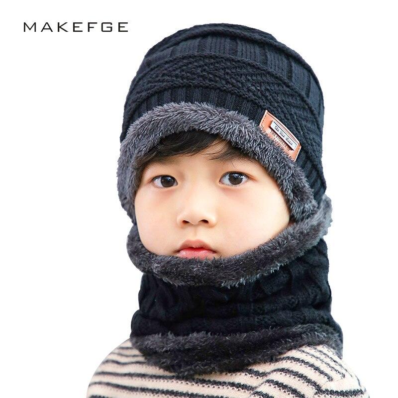 Autumn And Winter New Boy Knitted Cotton Caps Warm Plus Velvet Thick Children Ski Mask Hat Boy Girl Universal Kid Hats Bib Scarf