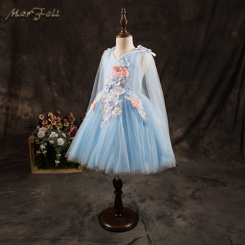 Marfoli lovely Blue Flower Girl Dress Birthday party Pink Kids dresses 2017 Summer holiday Casual daily Princess Clothes ZT06 kids fashion comfortable bridesmaid clothes tulle tutu flower girl prom dress baby girls wedding birthday lace chiffon dresses