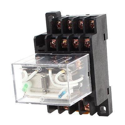 Подробнее о DC 12V 10A Coil 4PDT 35mm DIN Rail Green Lamp Electromagnetic Power Relay + Base free shipping dc12v coil 8 pin 35mm din rail electromagnetic relay power relay my2nj w base