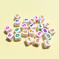 Wholesale 1600PCs Lot 3D Cube Square Mixed 0 9 Numbers Acrylic Beads Big Hole White With