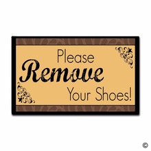 Door Mat Entrance Rug Floor Please Take Off Your Shoes Non-slip Doormat 30 by 18 Inch Machine Washable Non-woven Fabric