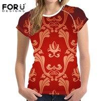 FORUDESIGNS Camiseta para Las Mujeres del Estilo Chino Rojo Floral Señoras Camiseta Ropa de Verano de Moda Femenina Tops Tees Blusa de Las Muchachas Camiseta