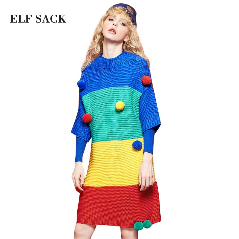 Elf SACK w caribbean autumn and winter colorant match hair bulb half sleeve wool knitted one-piece dress