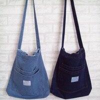 Fashion Simple Vintage Jeans Women Shoulder Shopping Bag Denim HandBags Girls purse Totes carteira bolsa feminina