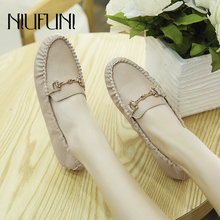 купить Plus Size 35-41 Women Flats Shoes 2019 Loafers Solid Color Slip On Flat Shoes Ballet Metal Comfortable Ladies Shoe Zapatos Mujer дешево