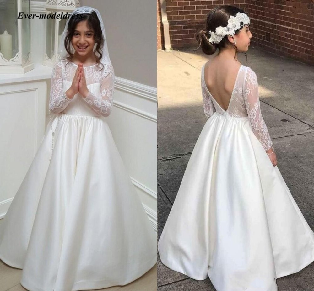 Flower     Girl     Dresses   For Wedding 2018 Backless One-Neck Ivory A-Line Lace Appliques Long Sleeve   Girls   First Communion Gowns