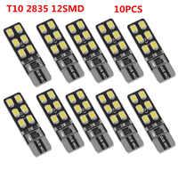Lámpara Interior LED Canbus para coche, sin Error, T10 168 194 W5W Wedge 12SMD 2835, 10 unidades por lote
