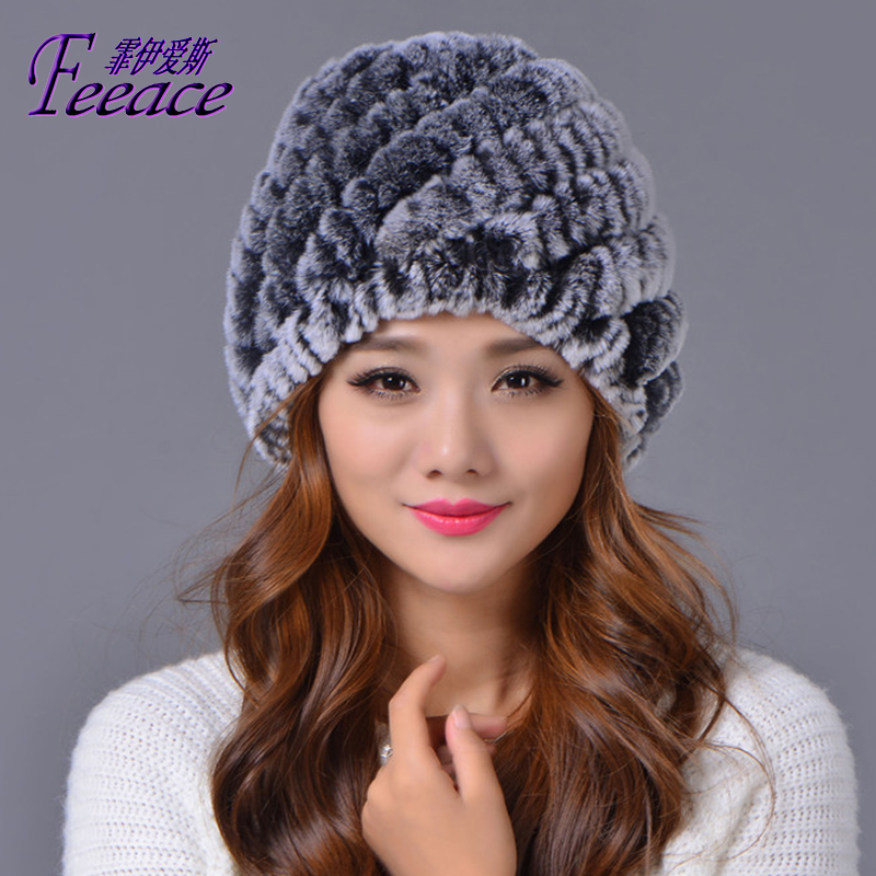 Skullies,Cap, Rabbit fur hat 2017 winter fashion, fashion cap tab pineapple pattern,Rabbit hair hat.FPC015 skullies