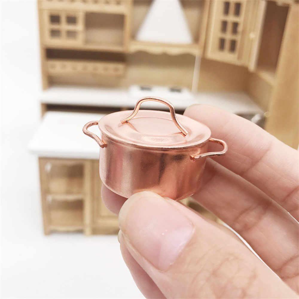 New 1/12 Quy Mô Đồng Nấu Ăn Pan Pot 1/12 Ngôi Nhà Búp Bê Thu Nhỏ Nhà Bếp Đồ Nấu Nướng Accessor Dollhouse Miniature Kim Loại L415