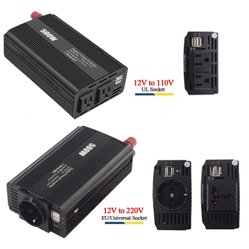 500W Power Inverter DC 12V to 110V/220V AC Car Inverter with 4.2A Dual USB Car Adapter Voltage Transformer Power Converter Mute