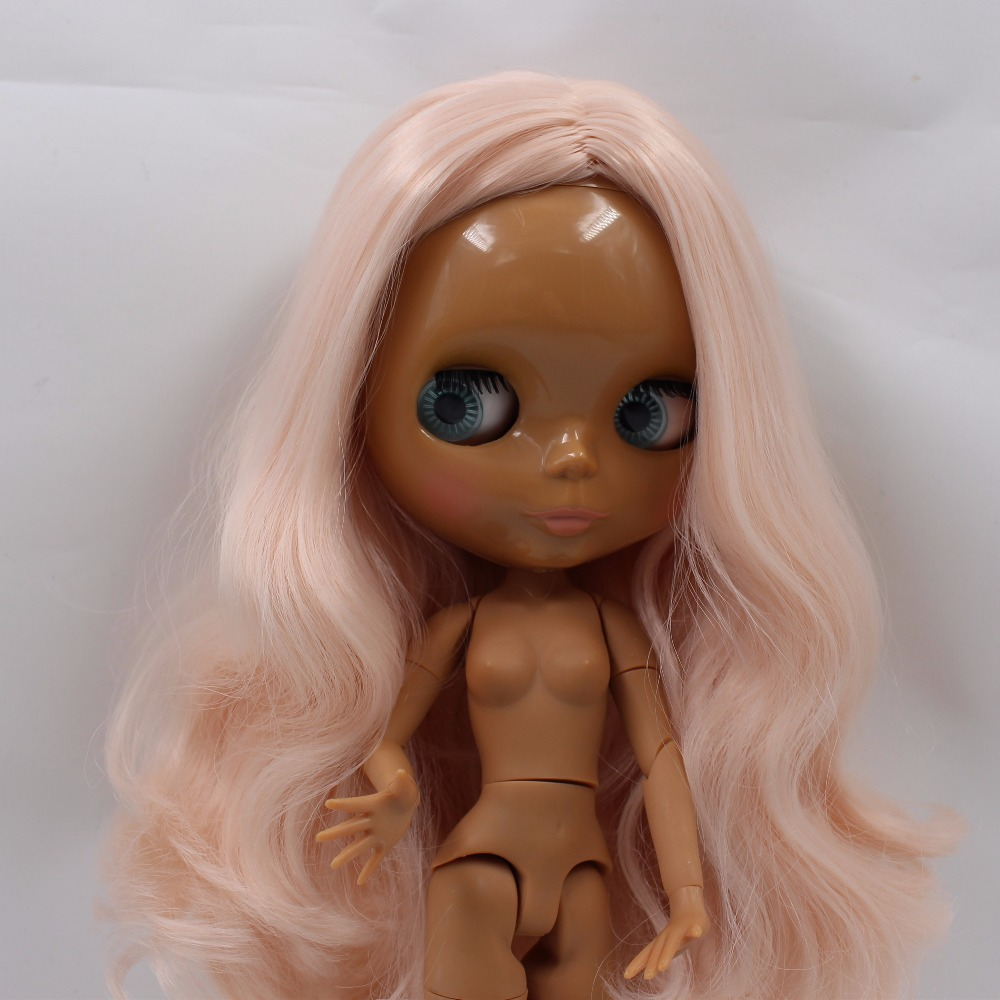 Neo Blythe Doll with Pink Hair, Dark Skin, Shiny Face & Jointed Body 4