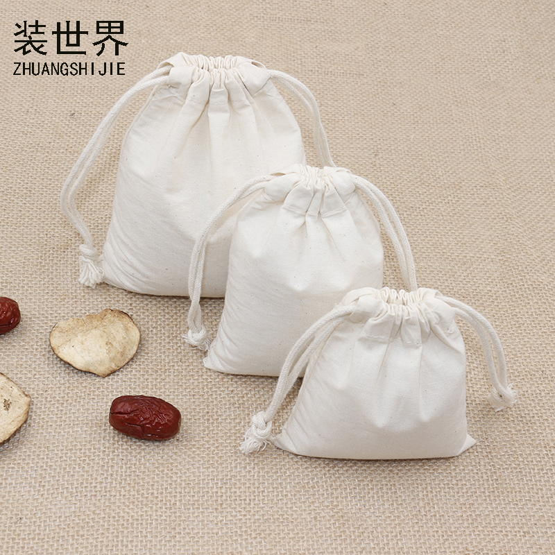 5 Pcs/lot 9*11cm 130g Cotton Pouch Wholesale Natural Storage Bag Logo Printed Drawstring Bags Food Packing Bags Christmas Gifts