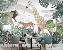 Beibehang Wallpaper Nordic fabric tropical plant animal giraffe TV background wall paper home decoration bedroom 3d wallpaper