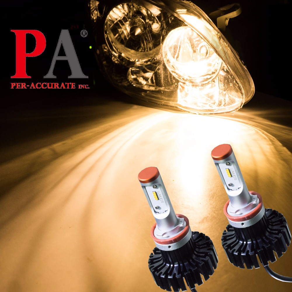 PA LED 1 paire x phare LED de voiture pour Lumi LED s 5000LM blanc chaud 3000 K H8/H9/H11/H16J 9-32 V