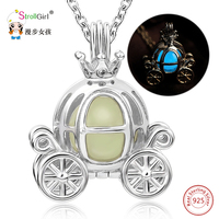 925 Sterling Silver Luminous Hollow Pumpkin Carriage Necklaces & Pendants For Women Glowing Chain Necklace dropshipping Gifts