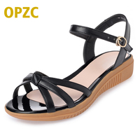OPZC New Solid Simple Women S Summer Sandal Strap Combination Flat Heel Suitable For Outing Holiday