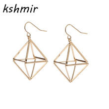 Accessories wholesale fashion triangular geometry stereo contracted pendant earrings with exclusive earring