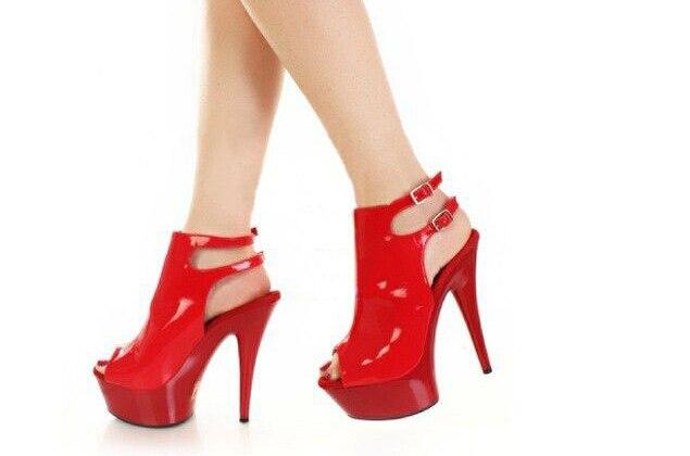Negro Mujer 6 Diversión Cm 15 Pulgadas La Mujeres Stiletto Sexy Sandalias Rojo De Plataforma Zapatos Correa Tacones HUwSTnqxR