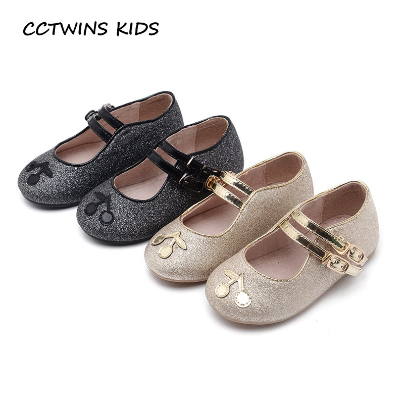 CCTWINS KIDS 2017 Kid Fashion Baby Girl Glitter Black Shoe Children Pu Leather Mary Jane Buckle Toddler Brand Strap Flat G1270 wendywu new kids leather shoes baby girls fashion dress mary jane for children pu leahter court shoe kid brand dance heel shoe