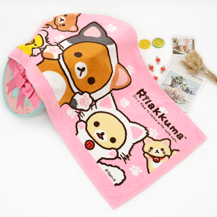Anime Brown Bear Towels 40x80CM Baby Handkerchief Kids Gift Nursing Toweling Cotton Towels Printed Microfibra zakdoek