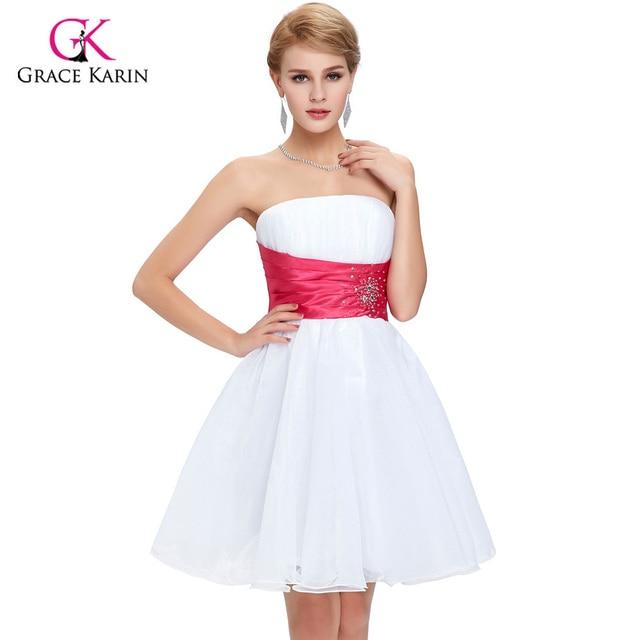cortos Robe De lujo de Grace Wedding de Tutu coctel Vestido Coctail 2017 Vestidos Karin Voile Party Blanco aPBExwBv