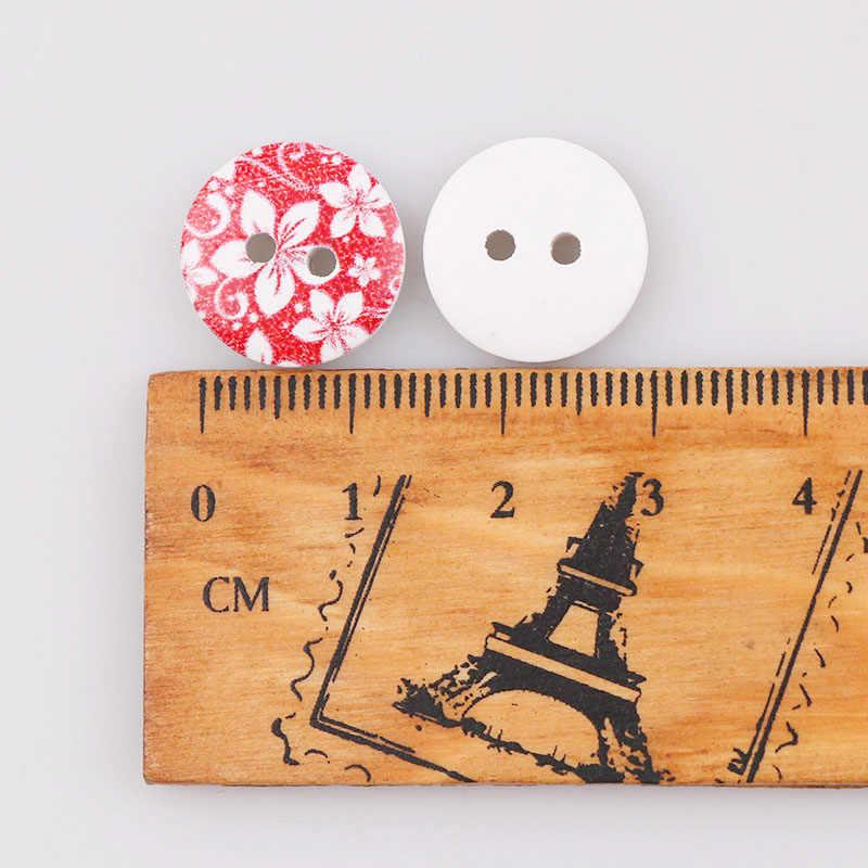 Маленькими цветочками; с узором из пайеток; в 13 мм деревянные пуговицы с двумя отверстиями Натуральный Деревянный Круглый Кнопка морской дизайн Скрапбукинг швейные принадлежности cделай сам