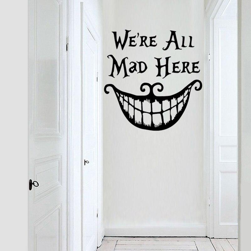 """WALL ART STICKER CITATION Cuisine /""""Nous sommes tous fous ici/"""" Famille de salle à manger Home Decor Decal"""