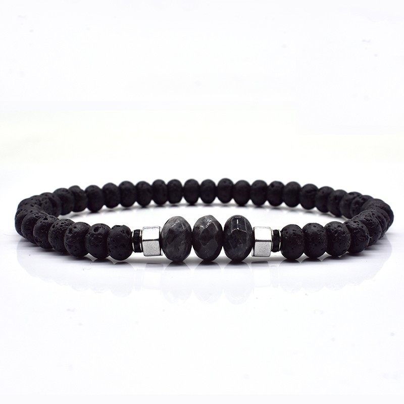 Lava & Simple Stone Beaded Bracelet for Men