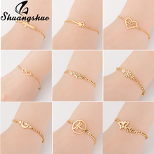 Shuangshuo Gold Bracelets For Women Cross Pendant Charm Bracelet Stainless Steel Fashion Jewelry Adjustable & Bangles