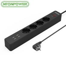 NTONPOWER NSC Inteligente UE Enchufe Hembra Cable de Extensión 4 AC Cargador Surge Salidas Regleta con 4 Puertos USB protección