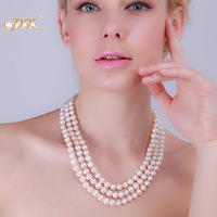 JYX 100% Real Pearl Necklace Triple strand 6 7mm Near Round Freshwater Pearl Necklace Party Wedding Mother Gifts