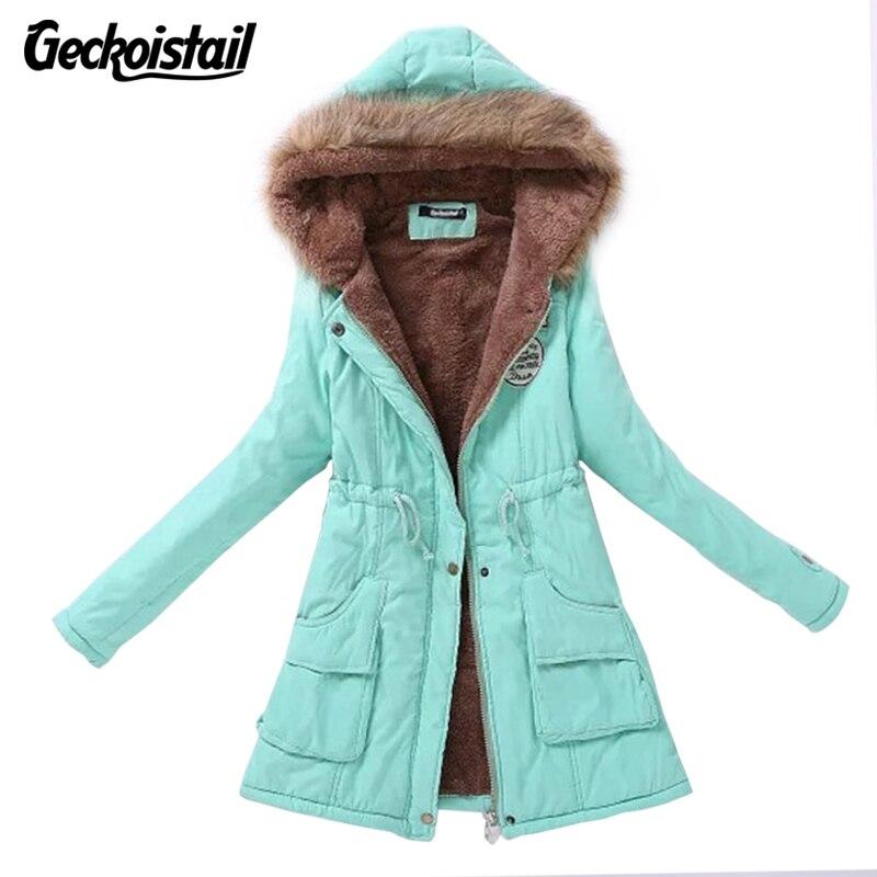 Geckoistail New Winter Women Coat Parka Casual Outwear Military Hooded Coat Woman Clothes Fur Coats Manteau Femme Jacket Women