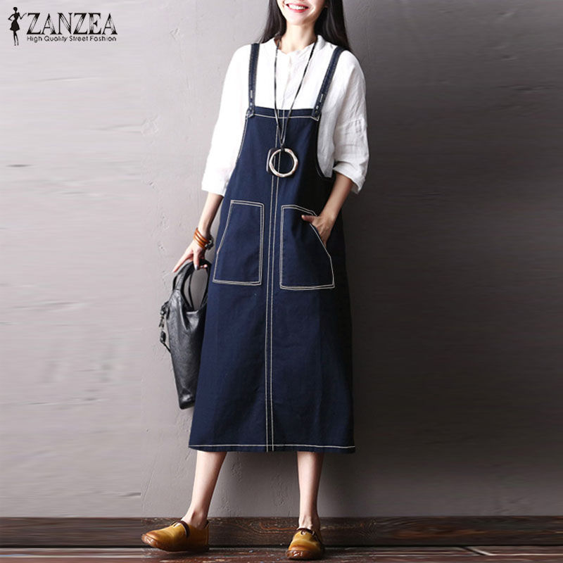2018 ZANZEA Women Summer Spaghetti Straps Pockets Denim Blue Dress Casual Loose Overalls Vestido Party Work Suspender Plus Size