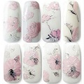3D Nail Stickers Embossed Pink Flowers Design Nail Art Decal Tips Stickers Sheet Manicure A2