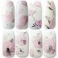 Etiquetas engomadas del clavo 3D relieve Pink Flowers Design Nail Art Decal consejos pegatinas hoja de manicura A2