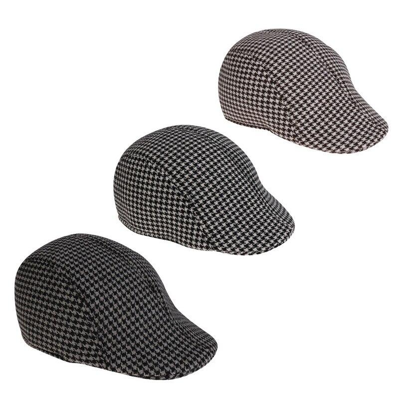 048f354afb US $5.69 30% OFF|Adult Mens Fashion Houndstooth Pattern Newsboy Flat Cap  Hat Adult Men Fashion Lightweight Stylish Professional Sweatband Cap Hat-in  ...