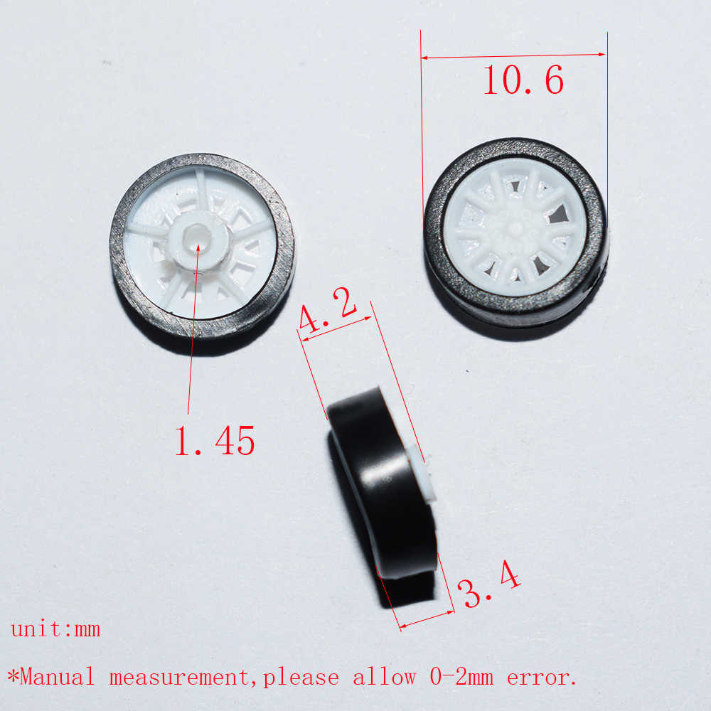 10/100 pces 1.5x11mm mini borracha plástico roda yuanmbm toywheel brinquedo acessórios tecnologia modelo peças/rc/bebê brinquedos 111.5ah