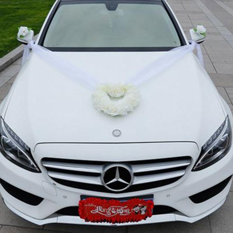 Heart Shape Wedding Car Decorations Artificial Flowers Set