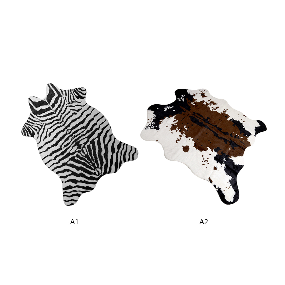 140*160cm zèbre/vache chèvre imprimé tapis velours Imitation cuir tapis peau de vache animaux forme naturelle tapis décoration tapis