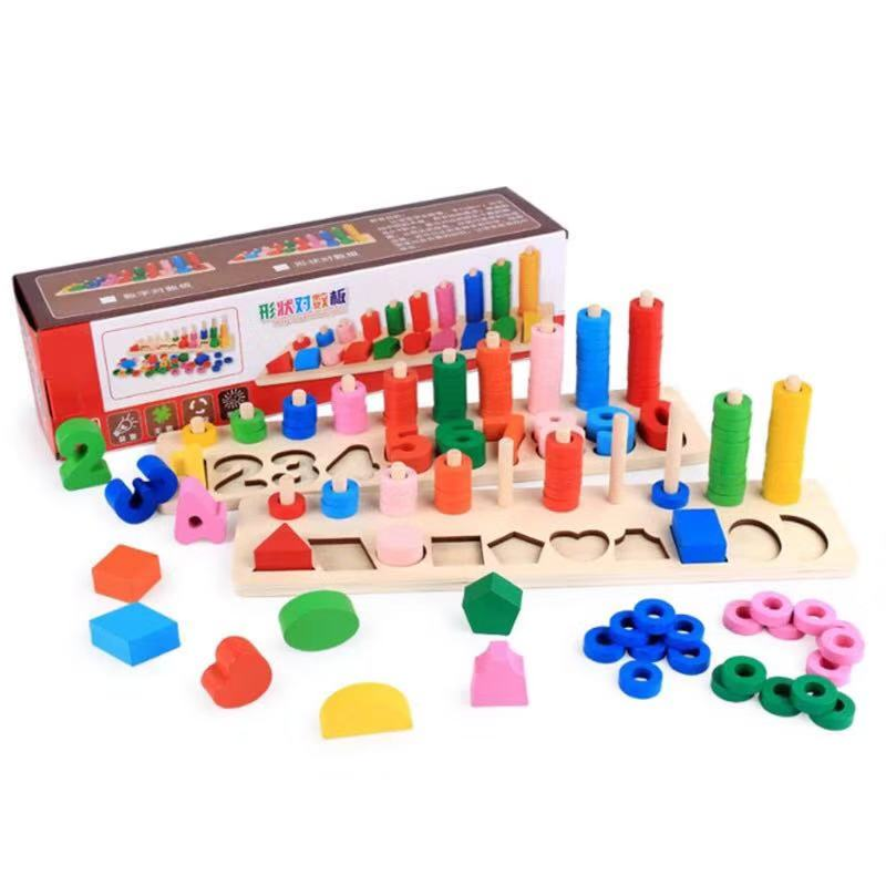 Montessori Logarithmic Digital Stacking Board Toys Children Wooden Math Toys For Baby Kids Early Education Teaching Aids Toy