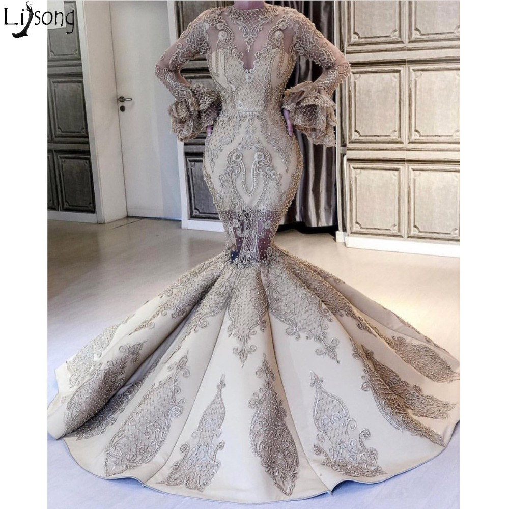 Luxury Mermaid   Prom     Dresses   2019 New Amazing Long Sleeves Appliques Beaded Chic Evening   Dress   Unique Design Formal Party Gowns