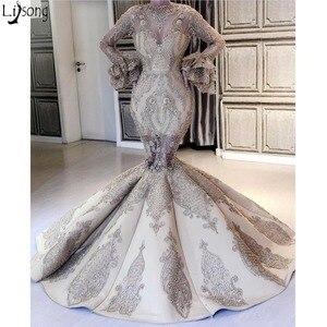 Image 1 - Robe de soirée de forme sirène luxueuse, tenue de soirée élégante, à manches longues, perles appliquées, Design Unique, superbe, robe de standing, nouvelle collection 2019